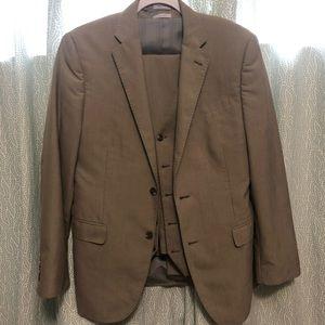 3 piece tan suit JF J FERRAR